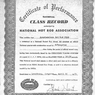 Class Record B/Dragster 1961