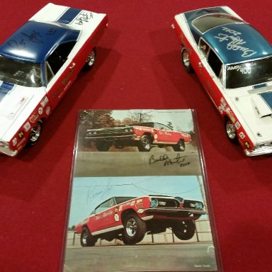 Buddy Martin and Ronnie Sox signed 69 GTX and Martin signed 69 Cuda