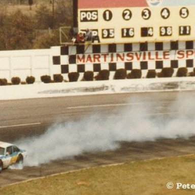 Tommy Houston up in smoke at Martinsville(Peter Montano Collection)