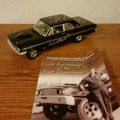 64' Ford Thunderbolt tribute car signed by Butch Leal,Hubert Platt,Phil Bonner and Dick Brannan