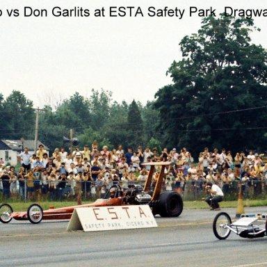 Don Garlits vs Tommy Ivo at ESTA Dragway Tom Loughlin Jr Photo.