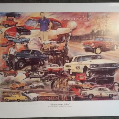"Camp Wheeler Drag Strip Print - ""Horsepower Sales"" - ""Win On Sunday, Sell Cars On Monday"""