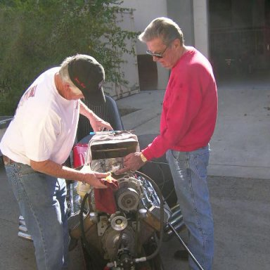 Mike Kuhl & Norm Weekly working on F-4 car