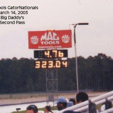 The scoreboard 2003 Gators