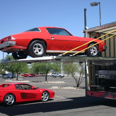 Loading the Camaro for the trip to Florida