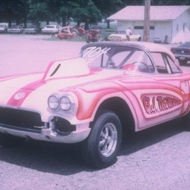 B J Thompson in pits 1969 dragway 42 by Wingerter
