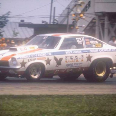 Bruce Larson burnout dragway 42 1973 photo by Todd Wingerter