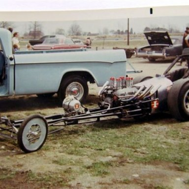 Weaver-Shook- Steele  dragster 1967 dragway 42 photo by Todd Wingerter