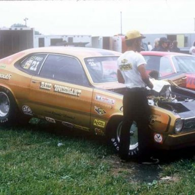 Reid Whisnant 1974 NHRA Springnts pit  photo by Todd Wingerter