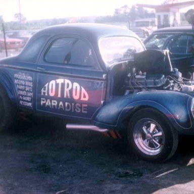 Hot Rod Paradise 41 Willys 1970 Thompson Dragway  photo by Todd Wingerter