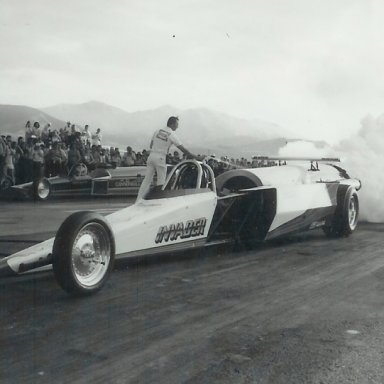 Invader vs. Cannonball Express jet dragsters at Bonneville Raceway in 1983