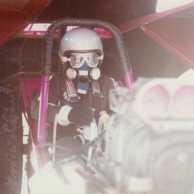 JoAnn Reynolds suited up in Pink Chablis funny car