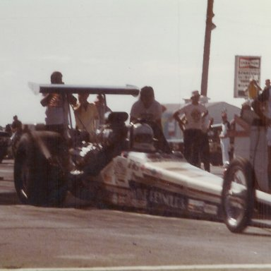 Mike Reynolds Top Fuel dragster at Bonneville Raceway in about 1979