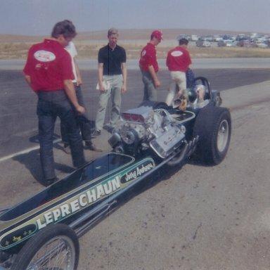 "Jerry Andrews' ""Leprechaun"" top fuel dragster"
