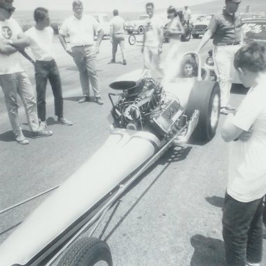 Dragster mishap at 1965 HRM Championships