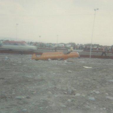 Don Nicholson's flipped-off flip-top Mercury Comet funny car at 1966 AHRA Winternationals