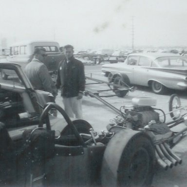 Jack Chrisman and Mickey Thompson Enterprises dragster at 1963 Winternationals
