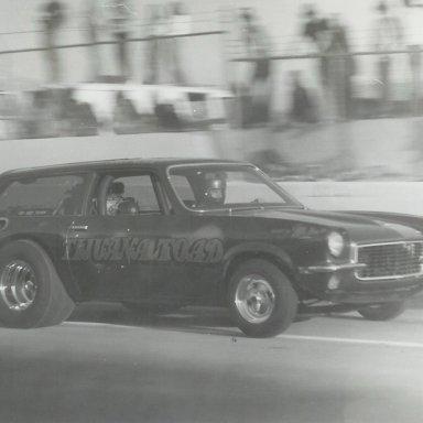 "Jerry McBee's ""Tijuana Toad"" '73 Vega wagon wheelstander at Bonneville Raceway in about 1978"