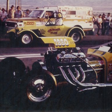 """Bill Spens' """"Thunder Plus"""" and """"Stormin' Mormon"""" Neil at Bonneville Raceway in about 1978"""