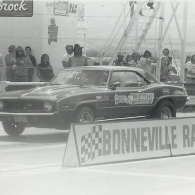 "Jim in the ""Green 'n Mean"" Camaro at Bonneville Raceway in about 1978"