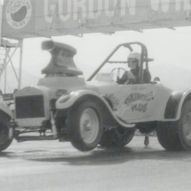 "Bill Spens in ""Thunder Plus"" roadster at Bonneville Raceway in about 1978"