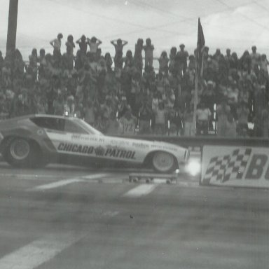 """""""Chicago Patrol"""" Mustang II funny car at Bonneville Raceway in about 1978"""