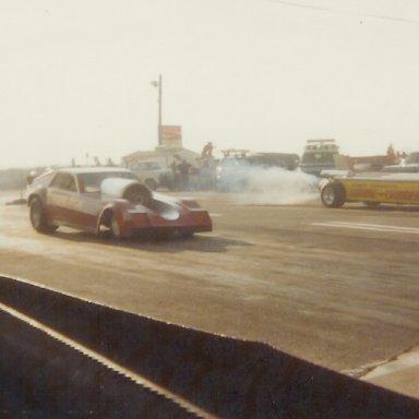 "Nitro Nick jet funny car vs. Scott Hammack's ""Smoke 'n Thunder"" jet dragster at Bonneville Raceway"