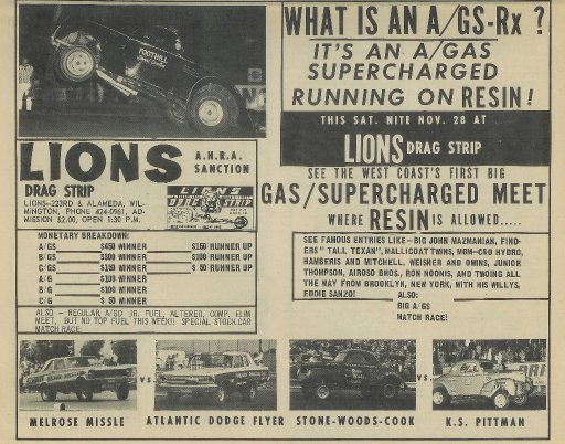Lions Drag Strip, Nov  28, 1965 - Gallery - Mel Bashore