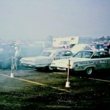 """Firing up that Z11- """"The Old Reliable IV""""- 1963 at U.S. Nationals-Indy. See the II in A/Stock trim."""