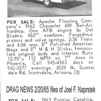 Back then-For Sale a 409 in 1965