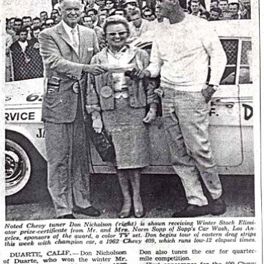 Dyno Don Nicholson Begins Eastern Tour After Winning The 1962 NHRA Winter Nationals.