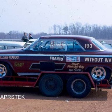 """The Joe Franco 1962 409 Impala """"Without Warning"""" in 1967. First owned by Danny Mauriello."""