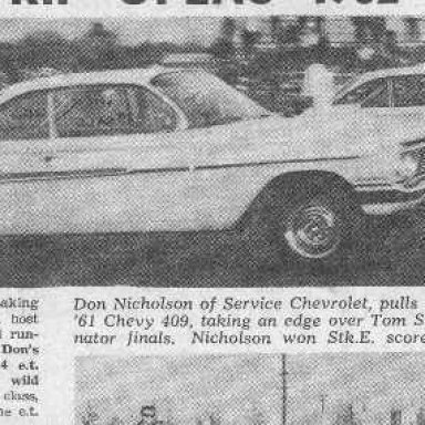 """Dyno Don with a """"mean lead over Don Strum"""" in 1961"""