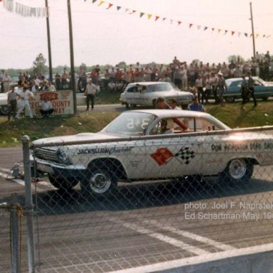 """Ed Schartman in Dyno Don's 62 at 'Cecil County Drag-O-Way"""" in 1964Photo by Joel Naprstek"""