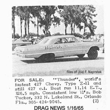 "For Sale back then- 63 Impala Z11 ""Thunder"""