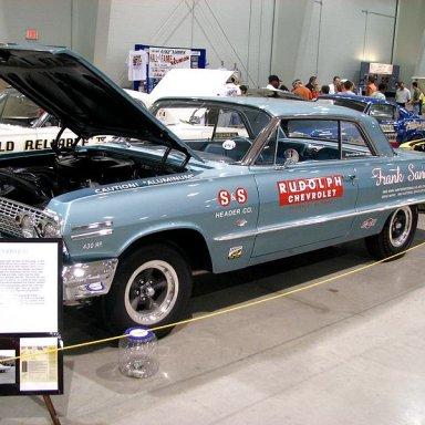 Z11 Frank Sanders-Rudolph Chevrolet restored, 1963 NHRA Winternational Class Champion and Drag News-1963 National Stock Champion.