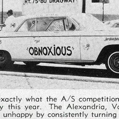 "Pat Davies, 1962 Impala 409, ""The Obnoxious"" of Alexandria, VA at 75-80."