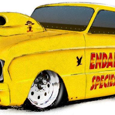 Yellow car t shirt design front