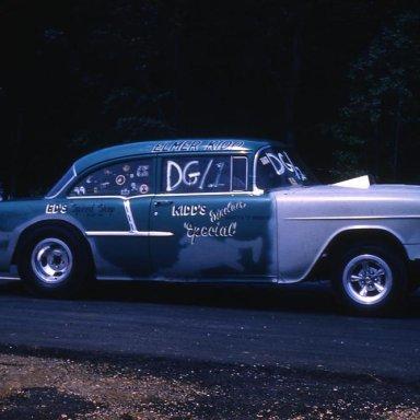 "Back in the day, Elmer Kidd ""Kidd Sinclair"" Baileys Crossroads, VA and Big Eds Speed Shop. 1955 Belair D/G at Aquasco."
