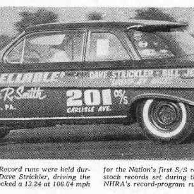 Old Reliable I at the first National Super Stock Record Runs at York. Record went to Dave Strickler