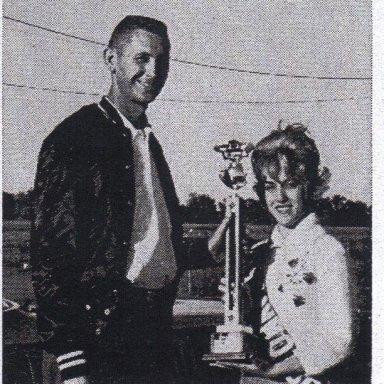 "Larry Johnson with ""Miss Sav-Motor Oil"" Alton Dragway 1963"