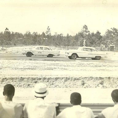 Jerry Martin in 57 Chevrolet takes the win over Tony Giles at Augusta International Speedway in 1960's