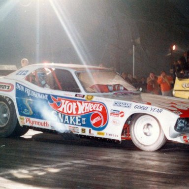 "DON ""THE SNAKE"" PRUDHOMME 'S CUDA@ NITE Vs BILL LEAVITT IN THE ""QUICKIE TOO"" MUSTANG @ IRWINDALE @ NITE"