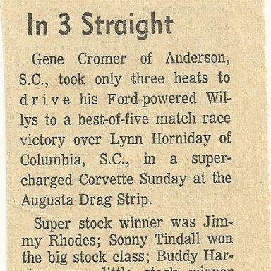 List of winners at Augusta Drag Strip