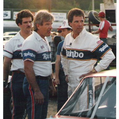Darrell and crew in the pits at Franklin County Speedway Mid 80's