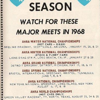 1968 AHRA RACE SCHEDULE