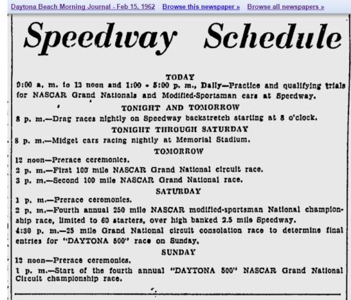 1962 Daytona schedule 021562DBMJ.png