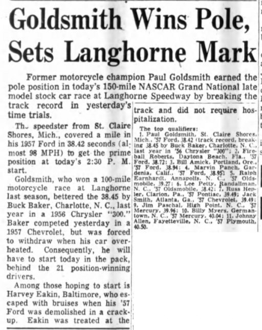 1957 Langhorne Goldsmith 041457PhilInquirer.png