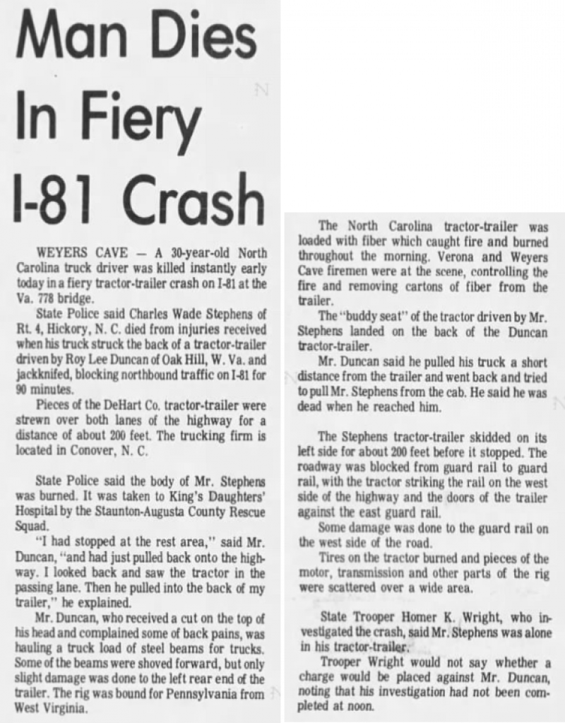 1971 Hickory Wade Stephens article 060271StauntonLeader.png