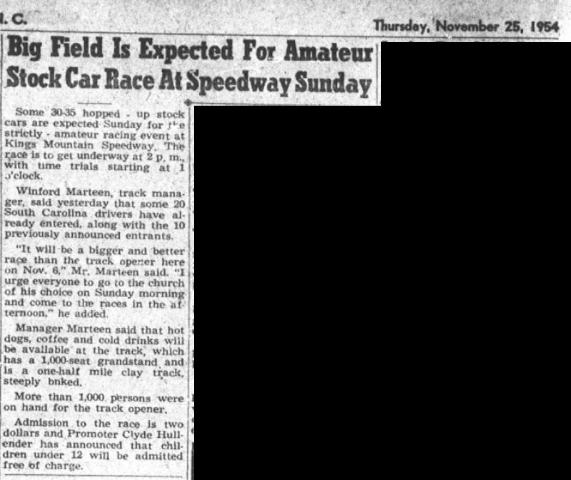 1954 Kings Mountain Speedway 112554KingsMtnHerald.png